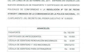 NUEVOS ARANCELES DE PASAPORTE Y CERTIFICADO DE ANTECEDENTES