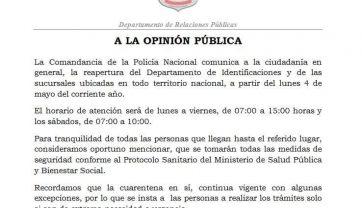 RE APERTURA DEL DEPARTAMENTO DE IDENTIFICACIONES