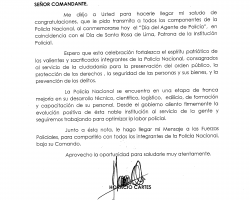 Mensaje de Felicitaciones del Excelentísimo Señor Presidente a todos los Componentes de la Policía Nacional