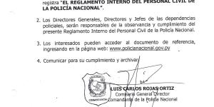 Por la que se aprueba el Reglamento Interno del Personal Civil de la Policia Nacional
