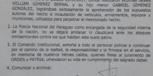 Comunicado de Felicitaciones del Comando Institucional a la Policía Nacional