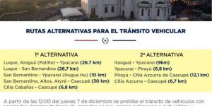 Rutas alternativas para el tránsito vehicular