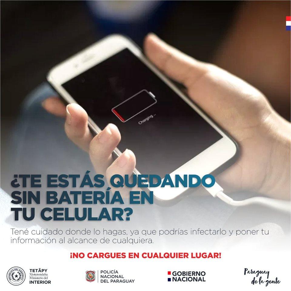 ¡No cargues la batería de tu celular en cualquier lugar!