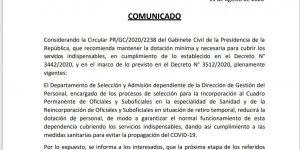 COMUNICADO DEL DEPARTAMENTO DE SELECCION Y ADMISION