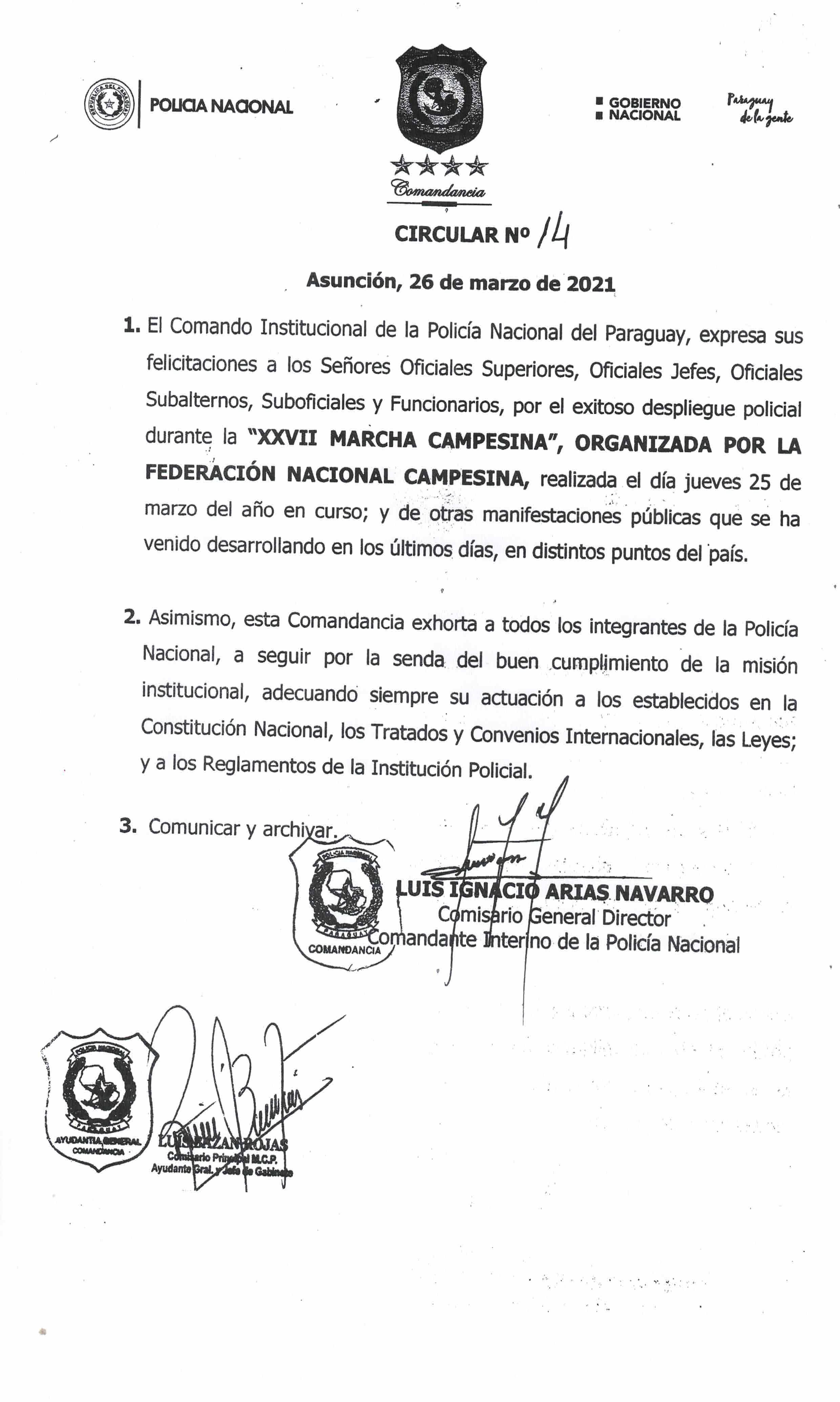 El Comando Institucional de la Policía Nacional del Paraguay, expresa sus felicitaciones a todo el Personal Policial a través de la Circular N° 14.