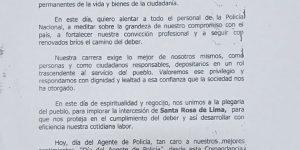 Mensaje al Personal Policial por el Día del Agente de Policía.